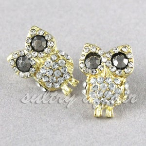 Image of Gold Crystal Owl Stud Post Earrings, SW140