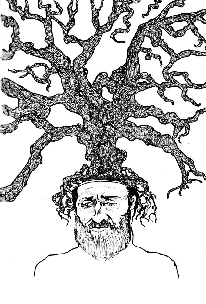 Image of 'A Root In His Mind II' Print on Silk