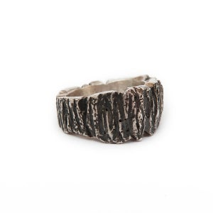 Image of 'Bark' Silver Ring