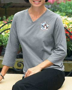 Image of Ladies' WGSR 3/4 Sleeve V-Neck T-Shirt