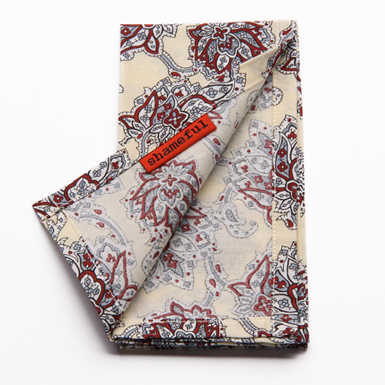 Image of Handkerchief cream with grey and brown paisley
