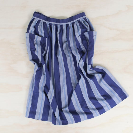 Image of blue striped midi skirt
