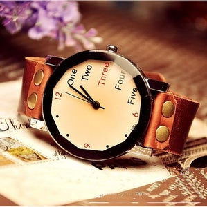 Image of Fashion Handmade Vintage Leather Watch / Wrist Watch / Leather Quartz Watch (WAT0022-CHAMPAGNE)