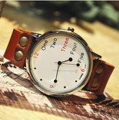 Image of Men's Or Women's Vintage Leather Wrist Watch (WAT0022-White)
