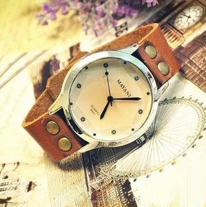 Image of Mens & Womens Watch / Handmade Leather Vintage Style Wrist Watch (WAT015)