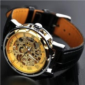 Image of Mens Watch / Antique Watch / Handmade Leather Watch / Automatic Mechanical Watch (WAT0041-Gold)