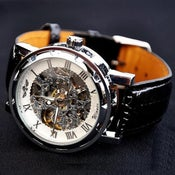 Image of Handmade Antique Leather Watch / Chain Hollow Out Mechanical Watch (WAT0041)