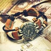 Image of Handmade Retro Womens Leather Wrist Watch Ladies Girls Bangle Beaded Bracelet Quartz Watch (GA0048)