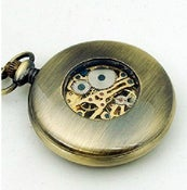 Image of Antique bronze mechanical pocket watch vintage wood Roman numerals (WAT0076)