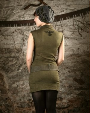 Image of SH61 [PARTIZANKA] Upcycled Military Surplus Dress W/ Collar
