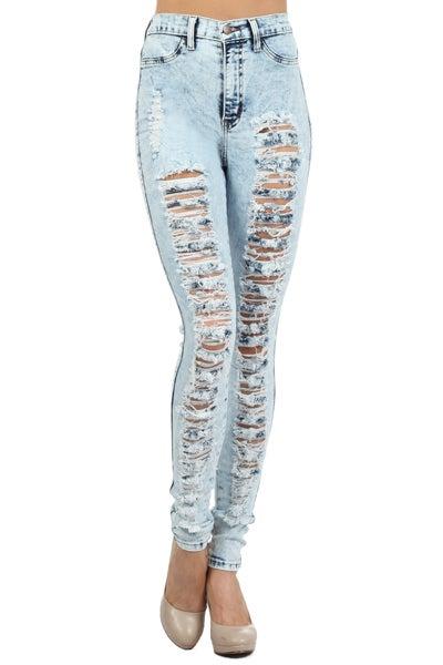 Image of Light Acid Destroyed Jeans