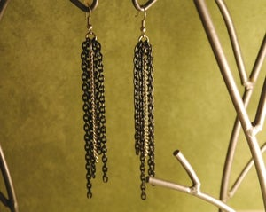Image of Party like a rock star metal multi Chain earrings