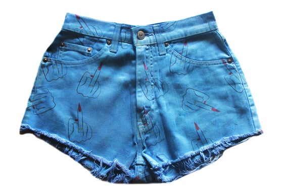 Image of D.Fame Fingers Up Denim Shorts