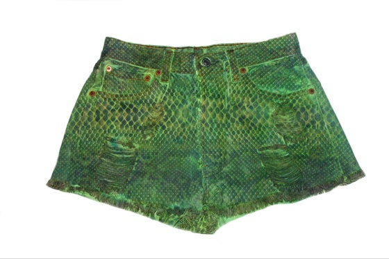 Image of D.Fame Python Denim Shorts