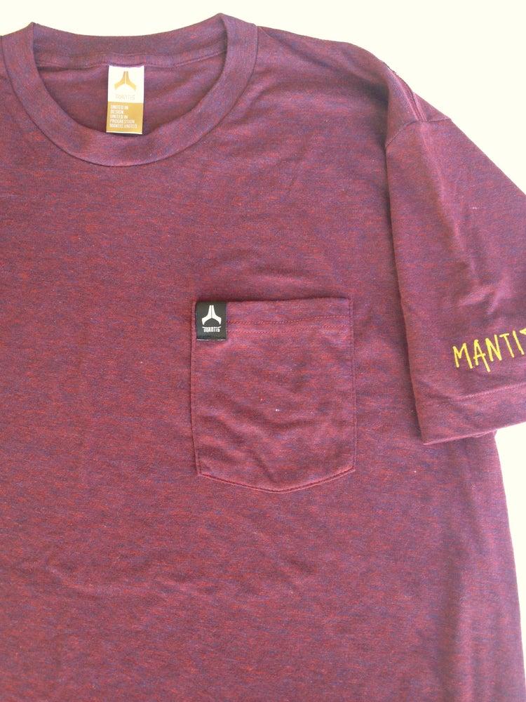 Image of Mantis signature pocket tee maroon
