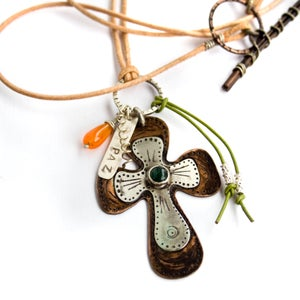 Image of Rustic Mixed Metal Cross Necklace