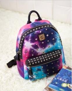 Image of [grzxy6200003]Fashion Rivet Starry Sky Color Backpack