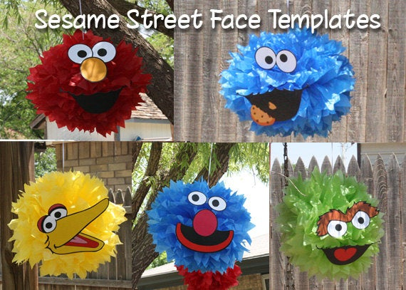 Five sesame street pompom face template our creative mess image of five sesame street pompom face template pronofoot35fo Image collections