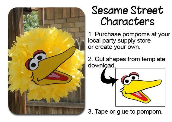 Big Bird PomPom Face Template / Our Creative Mess