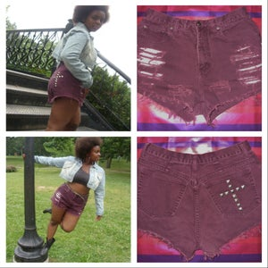 Image of Distressed Purple Cross Shorts
