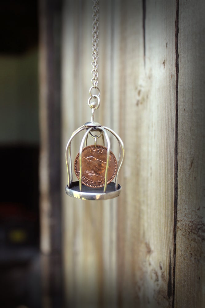 Image of Wren Farthing Birdcage Necklace On Long Silver Chain