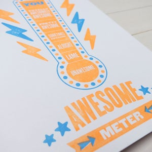 Image of awesome meter letterpress card