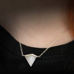 Image of Crystal Pyramid Silver Necklace