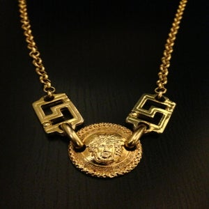 Image of Vintage Gianni Versace Gold Medium Medusa Head Logo Greek Design Link Chain