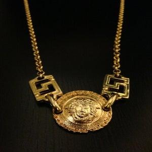 Image of Vintage Gianni Versace Gold Large Medusa Head Logo Greek Design Link Chain