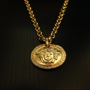 Image of Vintage Gianni Versace Gold Medusa Head Pendant Rolo Chain