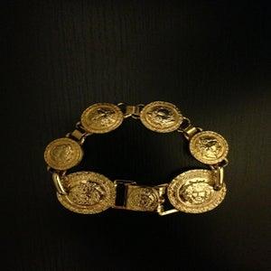 Image of Vintage Gianni Versace Gold Medusa Logo Six-Coin Bracelet