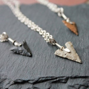 Image of Neolithic Flint Arrowhead Silver Necklace