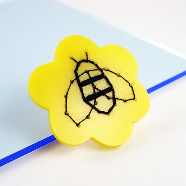 Image of Embroidered Bumble Bee brooch