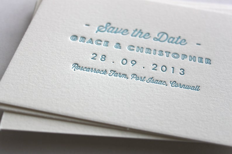 Image of Save the Date 'Pearl' design on cotton card // 89x124mm