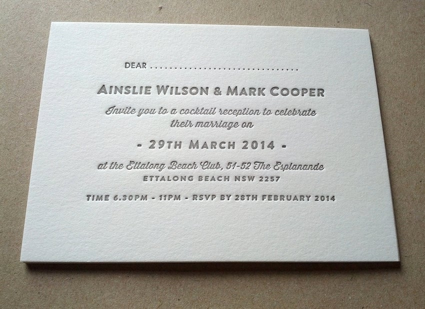 Image of Letterpress Wedding Invitations // 'Vintage' one colour (89x124mm)