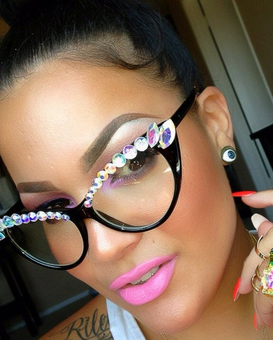 Image of Rainbow Rhinestone Cat Eye Glasses