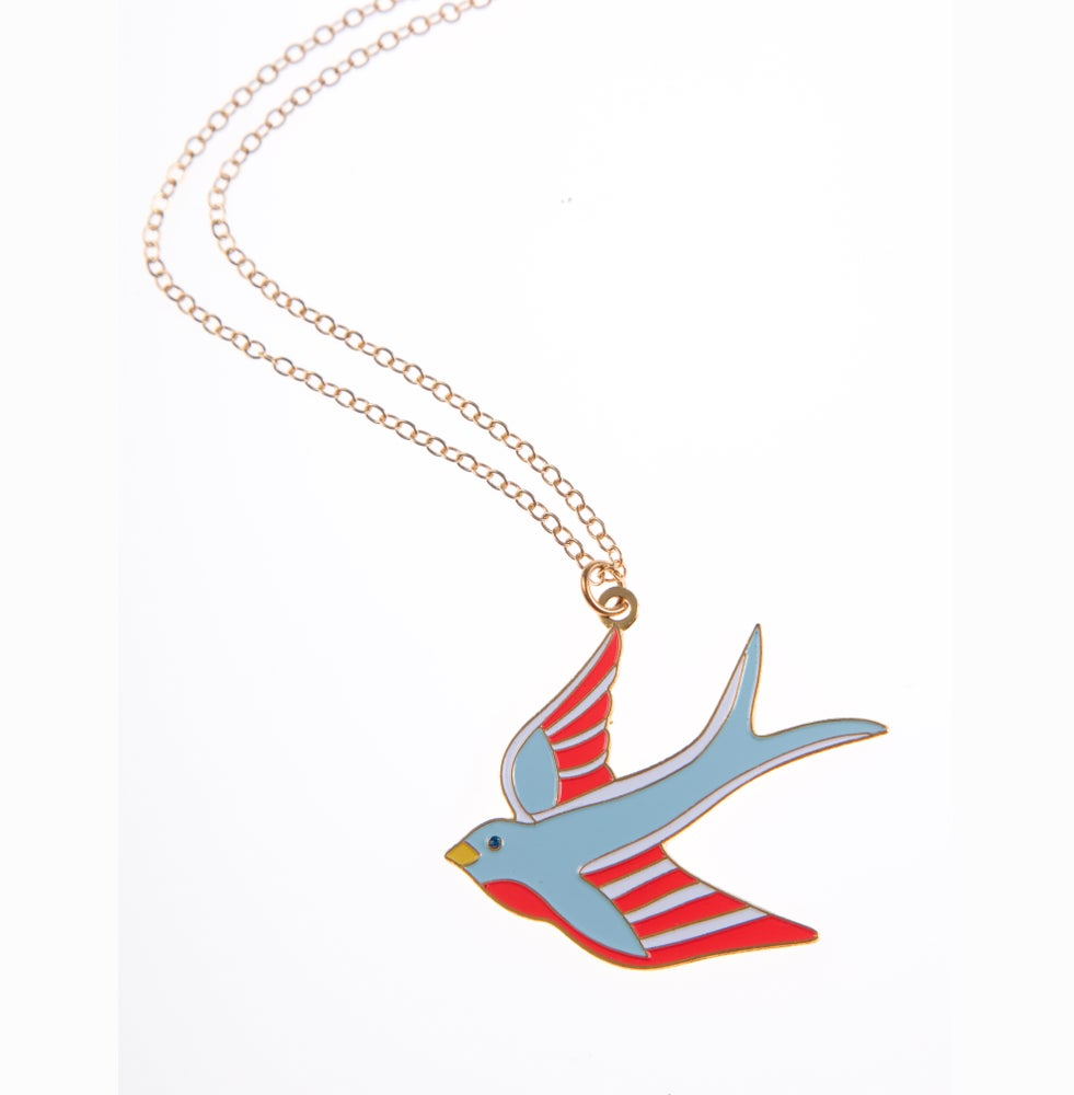 Image of Swallow Necklace Gold