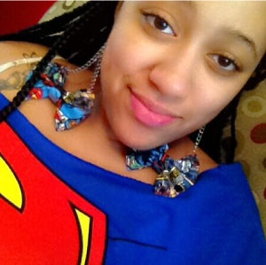 Image of Superman Bow Earrings on a Chain