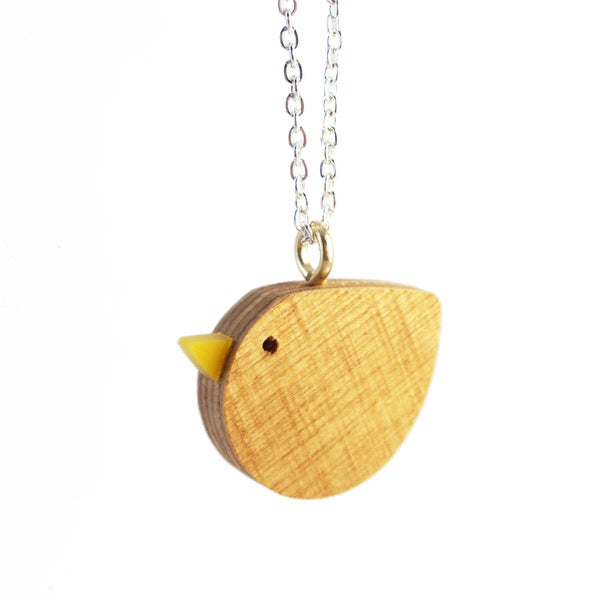Image of Wooden Bird pendant necklace