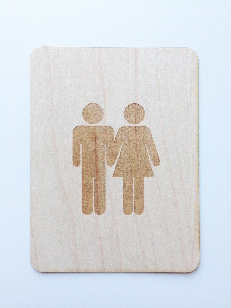 """Image of Potty People Couple 3""""x4"""" Wood Veneer Card"""