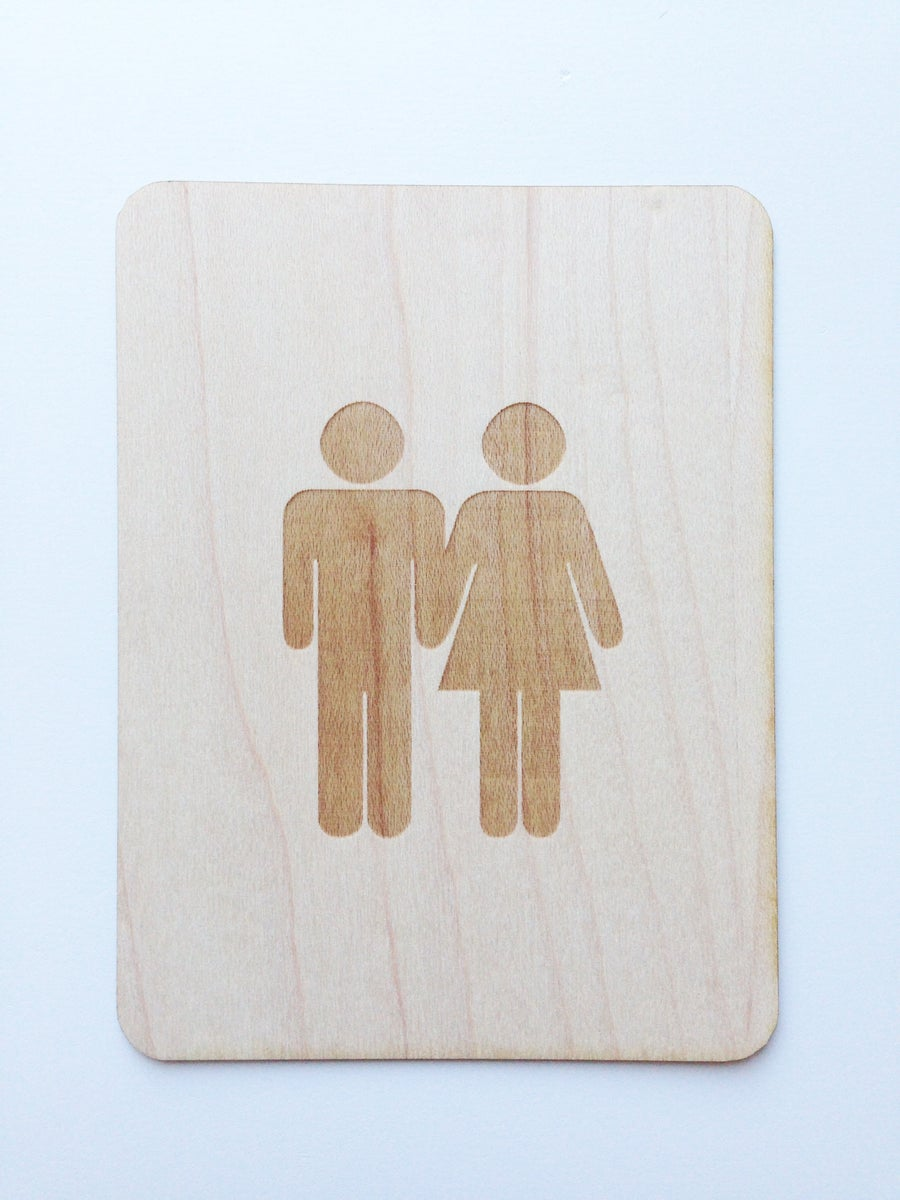 Potty people couple 3 x4 wood veneer card twine and tape for Thin wood sheets for crafts