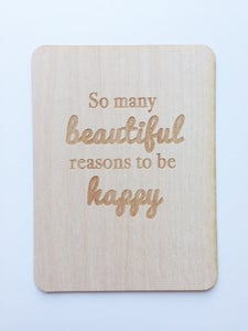"Image of Beautiful Reasons to Be Happy 3""x4"" Wood Veneer Card"