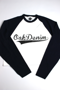 Image of BASEBALL LONG SLEEVE CROP NAVY