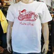 Image of Mucho Love Rider White Tee with Red Print