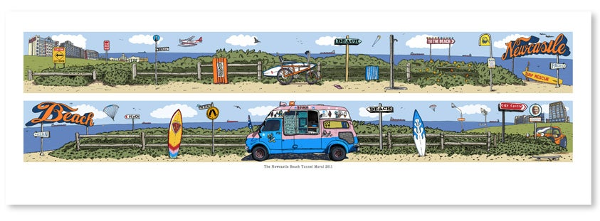 Image of Newcastle Beach Tunnel Mural Limited Edition Digital Print