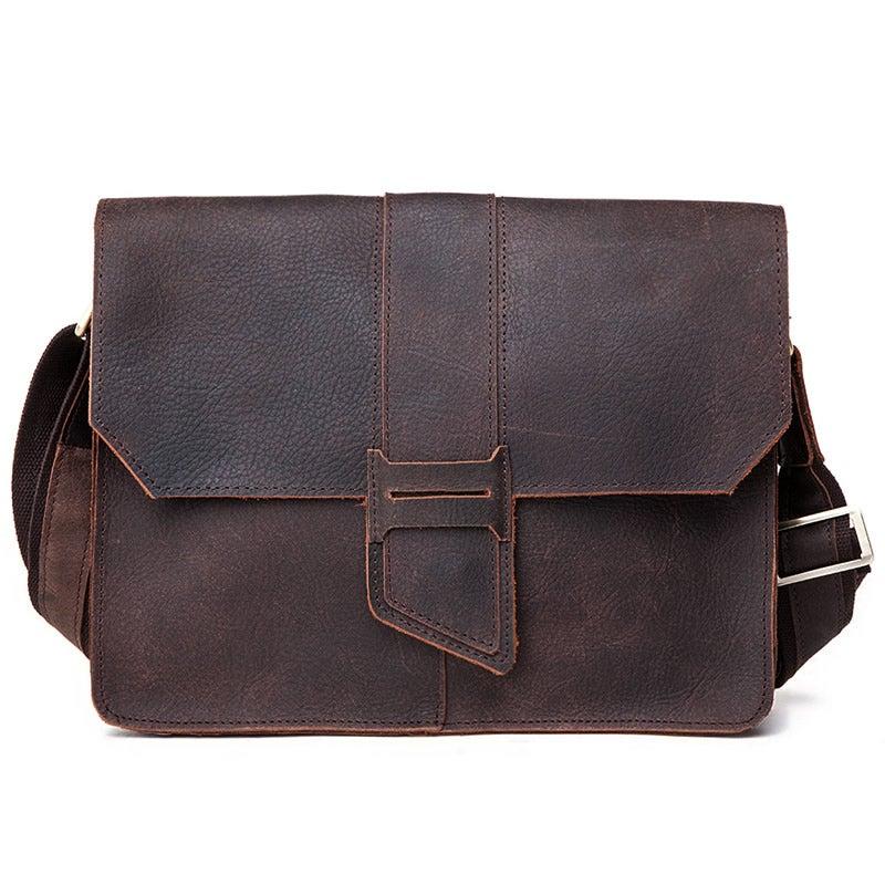 """Image of Vintage Handmade Antique Crazy Horse Leather Messenger Bag / 11"""" MacBook Satchel / iPad Bag (n10)"""