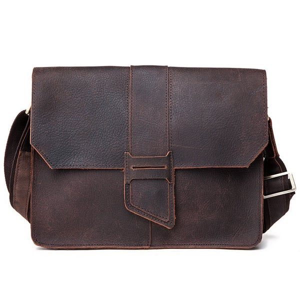 "Image of Vintage Handmade Antique Crazy Horse Leather Messenger Bag / 11"" MacBook Satchel / iPad Bag (n10)"