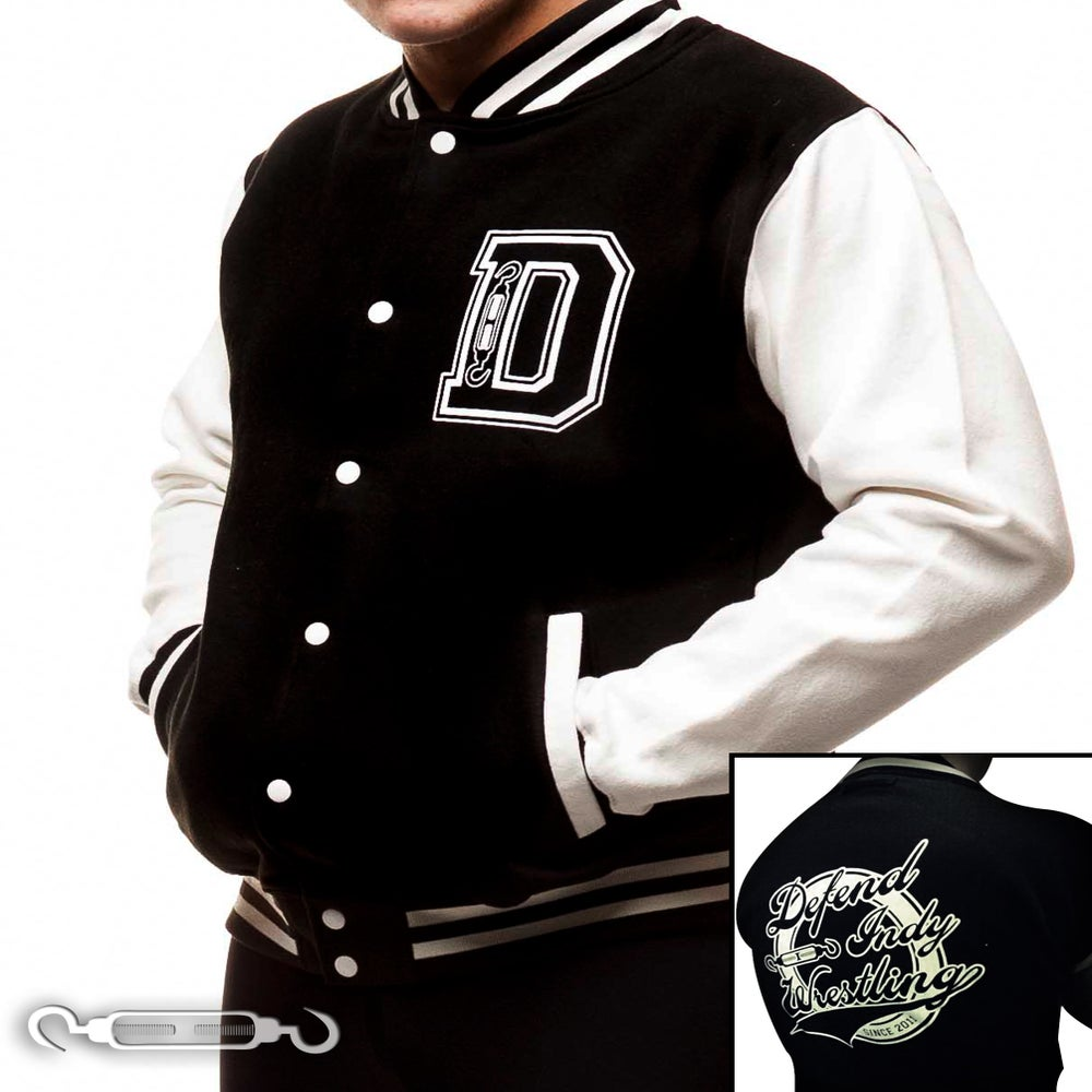 Image of DEFEND Indy Wrestling Varsity Jacket