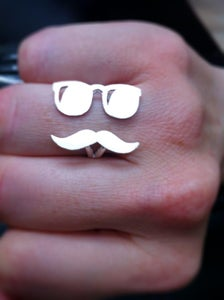 Image of Mr. Mustache with Sunglasses Version 2- Handmade Silver Ring