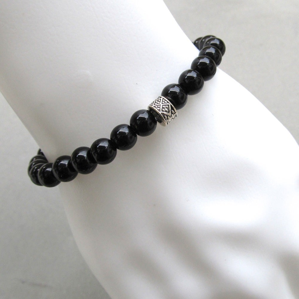 Image of Black Glass Beaded Bracelet With Tibetan Silver Style Bead 2
